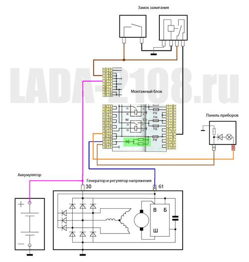Адаптированная и откорректированная схема заряда LADA Samara..